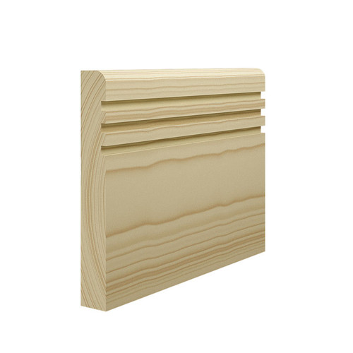 Grooved 3 Bullnose Pine Skirting Board - 144mm x 21mm