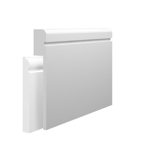 Grooved 1 Bullnose MDF Skirting Board Cover over existing skirting