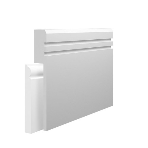 Grooved 2 Chamfered MDF Skirting Board Cover over existing skirting