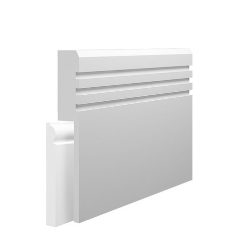 Grooved 3 Chamfered MDF Skirting Board Cover over existing skirting