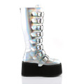 Silver Holographic Damned Boots
