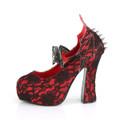 Red Lace Bat Spike Heels