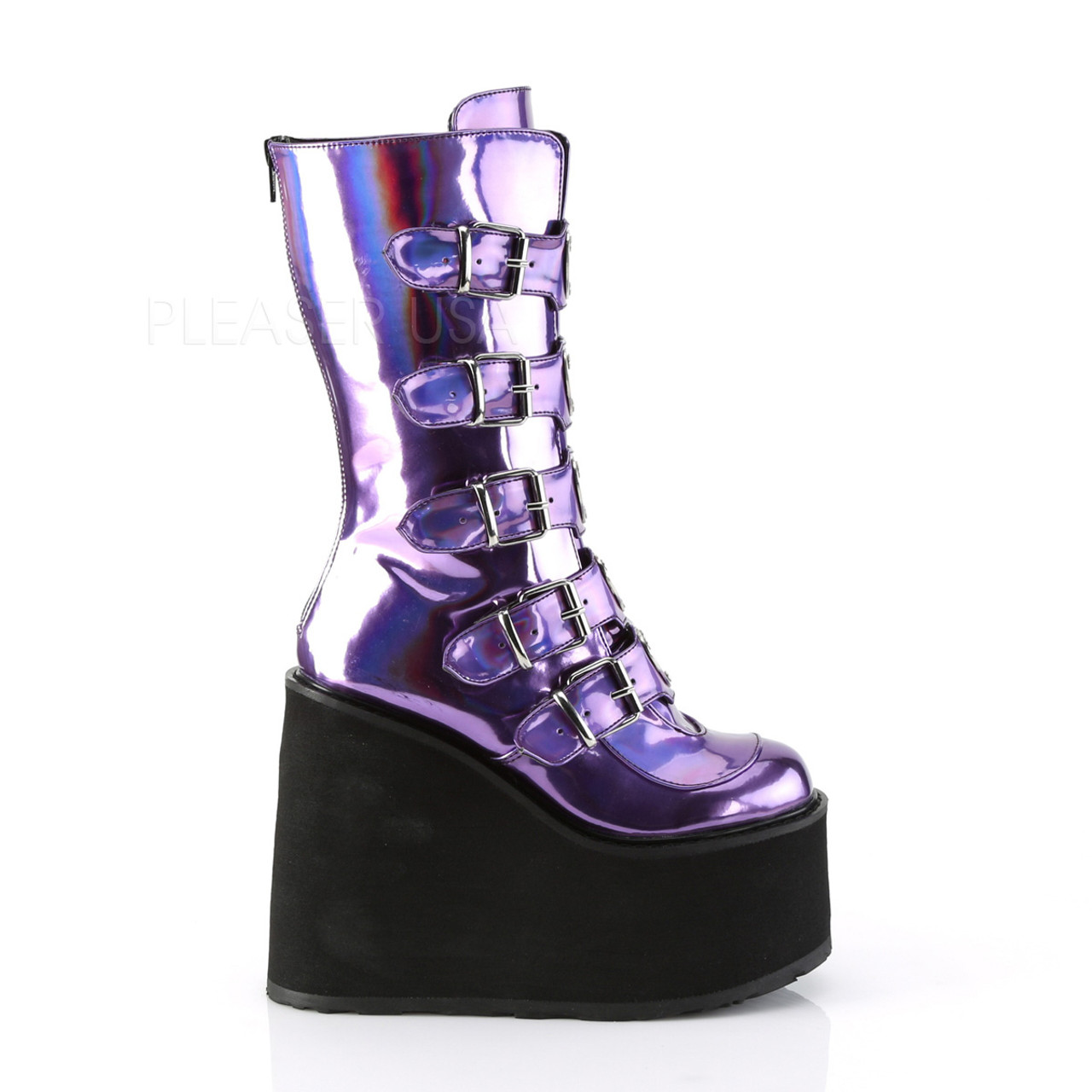 ebb2a5033b7 Purple Holographic wedge buckle platform boots