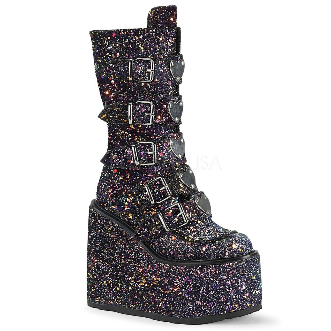 Black Glitter wedge buckle platform boots
