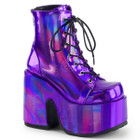 Holographic purple platform ankle boots