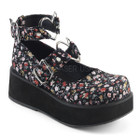 floral print platform mary janes with heart shaped buckle