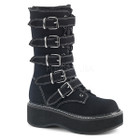 Black canvas combat boots with buckles and white contrast stitching