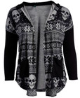 black and gray skull print hooded plus size cardigan
