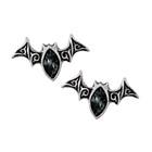black crystal bat earrings