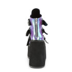 iridescent purple platform ankle boots with 3 heart buckles back view