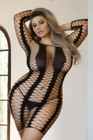 Diamonds Plus Size Fishnet Dress