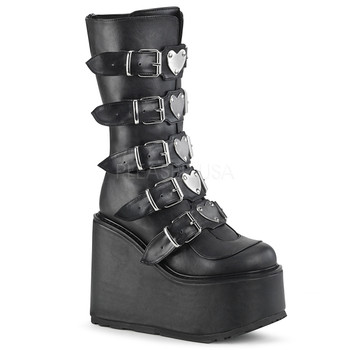 36a54e4f7e4 Black vegan leather platform boots with heart studded buckles ...