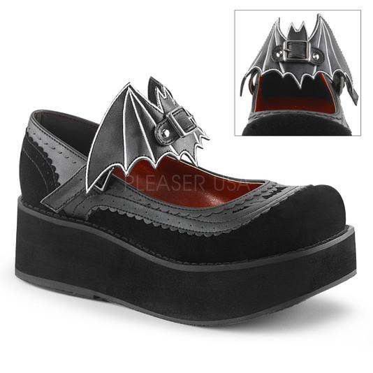 bat buckle velvet mary janes