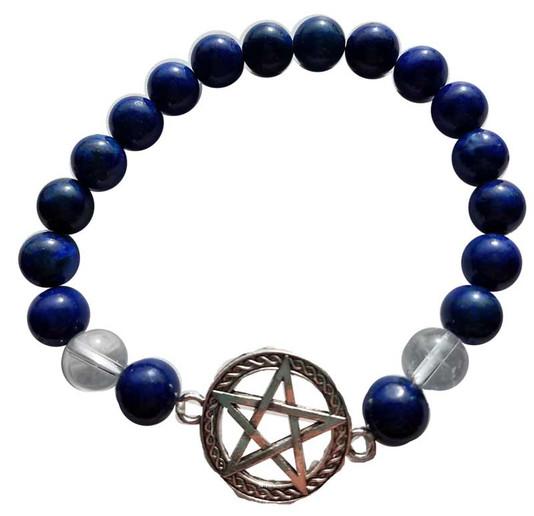 Lapis & quartz pentagram bracelet