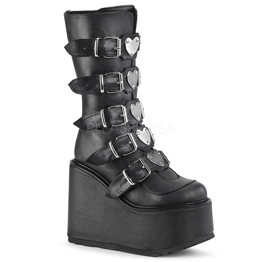 Black vegan leather platform boots with heart studded buckles