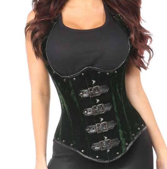 f04c403ef0aa Green Velvet Waistcoat Steel boned corset