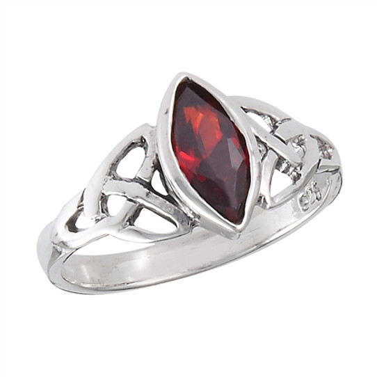 Sterling Celtic Garnet Ring