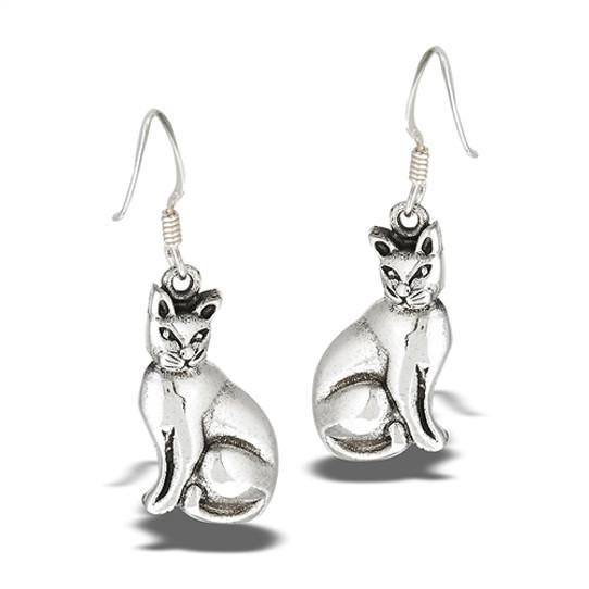 Sterling Two Cats Earrings