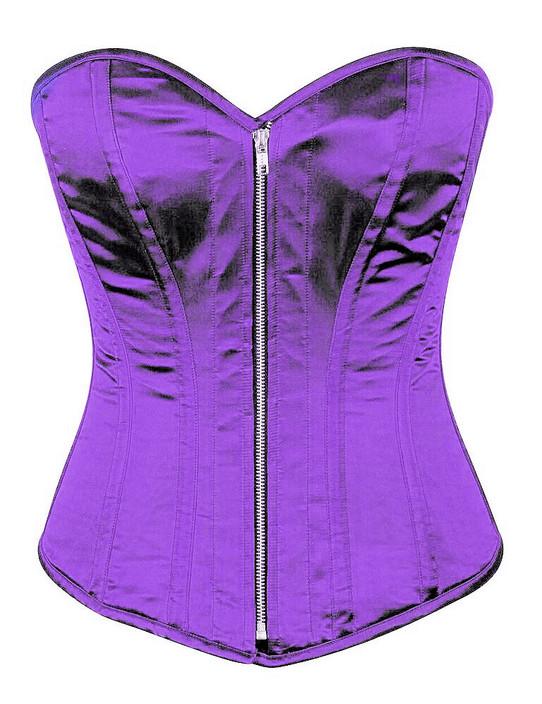 Purple Satin Steel Boned Corset