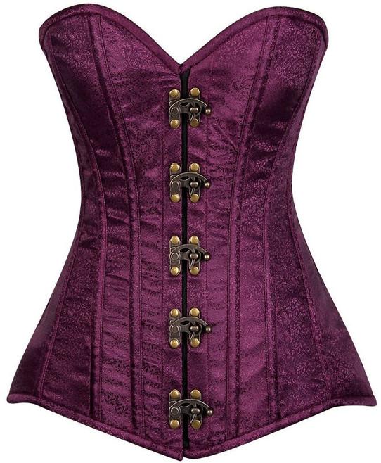 purple brocade steel boned corset