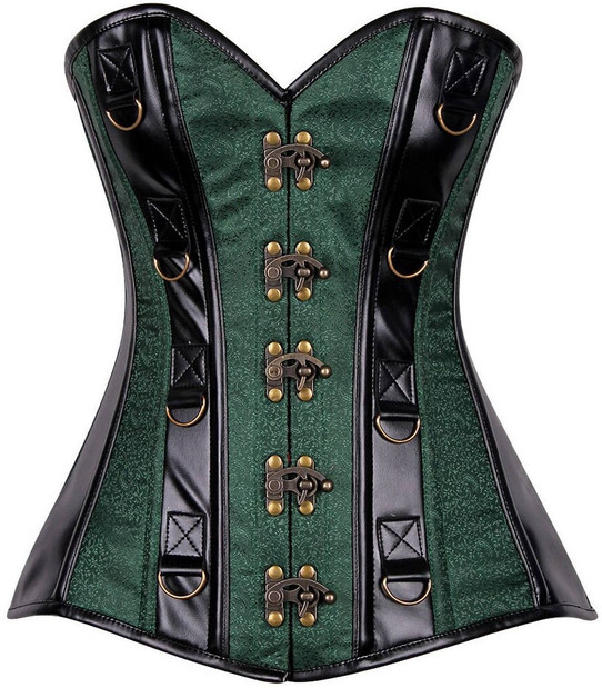 green brocade and faux leather steel boned corset