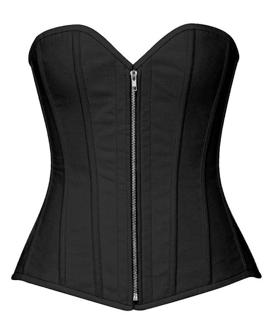 Black Cotton Steel boned Corset