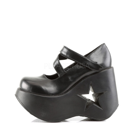 Black Star Wedge Mary Janes