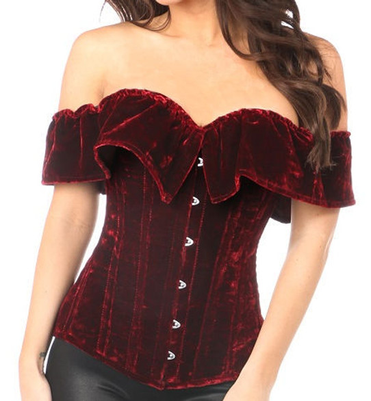 Wine and Roses Velvet Steel boned Corset