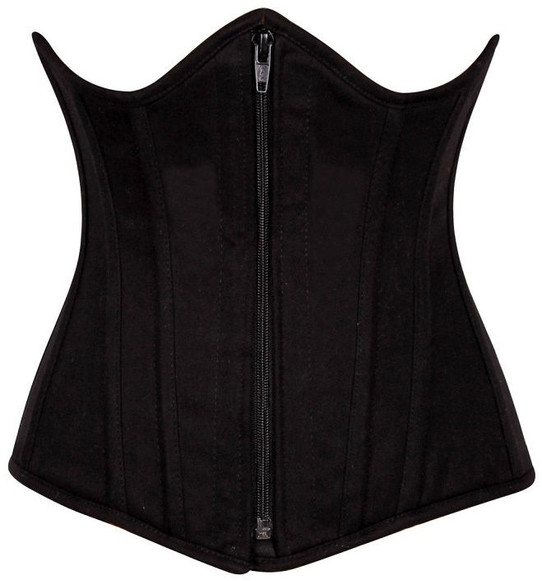 Black cotton Steel Boned underbust Corset