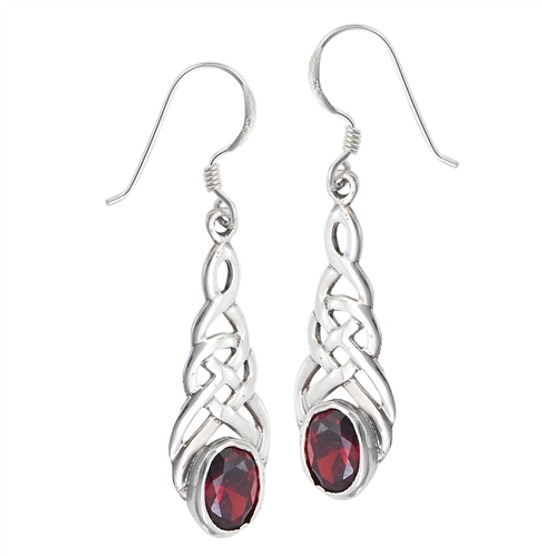 Sterling Celtic Garnet Earrings