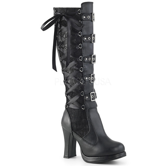 black lace up corset boots