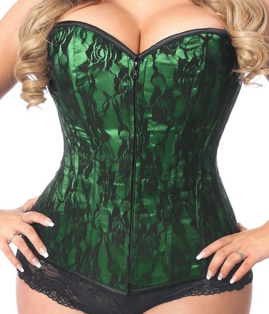 plus size green corset