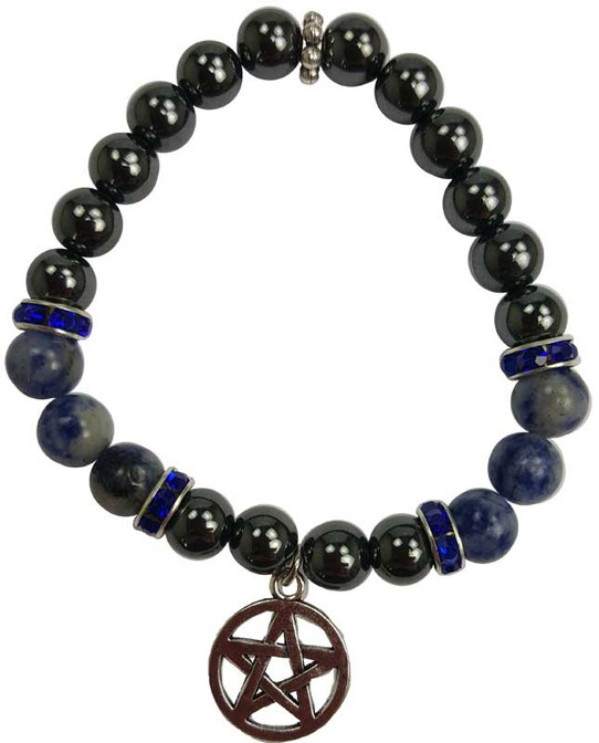 Hematite and Sodalite Pentagram Bracelet