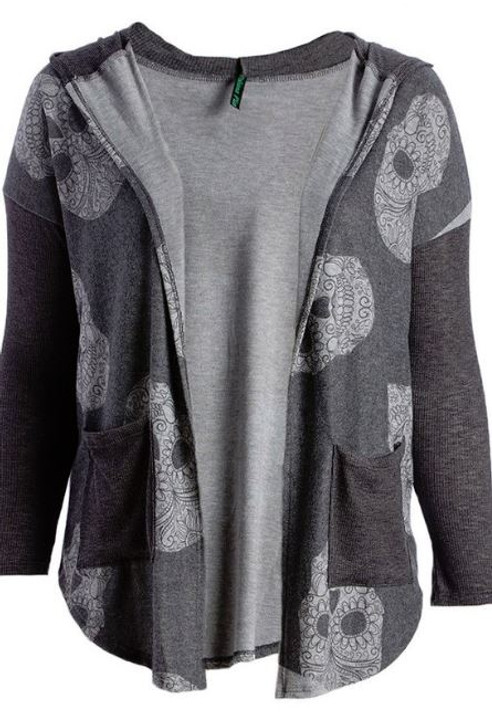 Gray plus size cardigan with sugar skulls and pockets