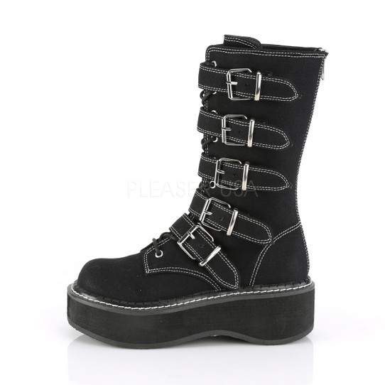 In Stitches Buckled combat boots