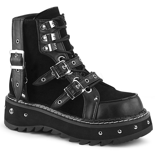 Suedehead studded vegan ankle boots