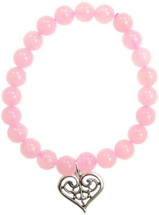 rose quartz beaded bracelet with pewter heart