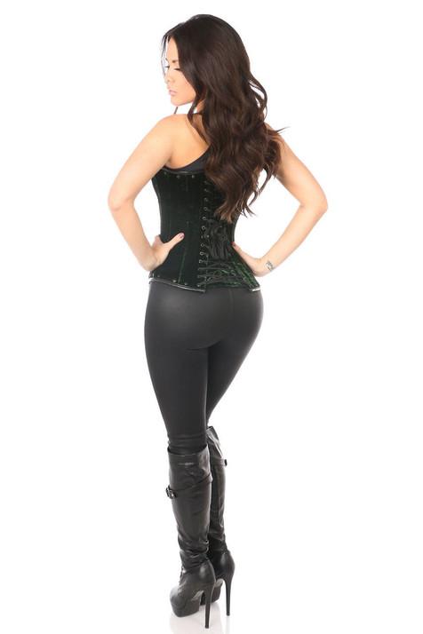 green velvet waistcoat corset back view