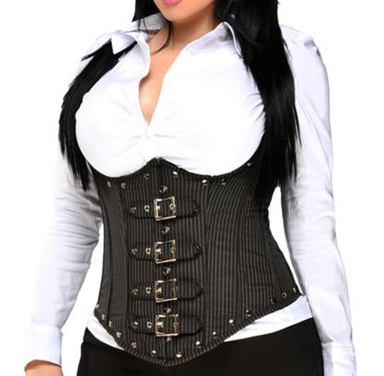 plus size pinstripe steel boned corset