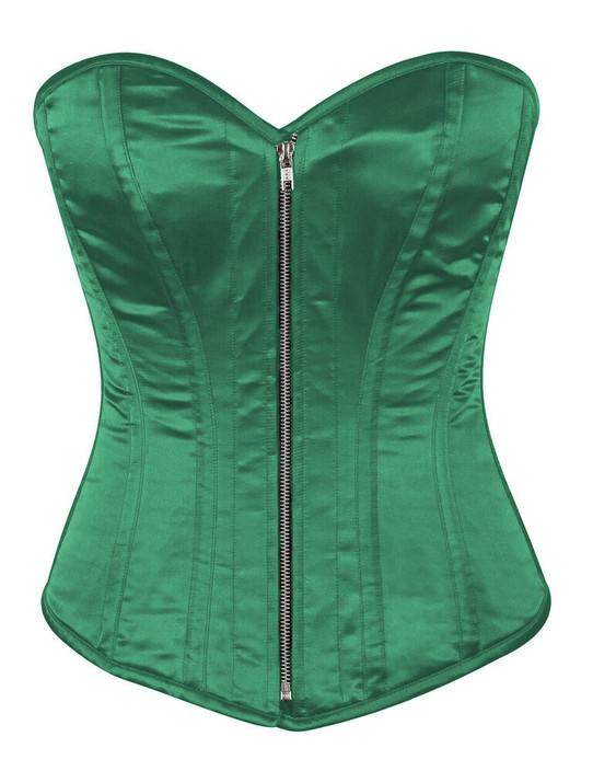 green satin steel boned corset
