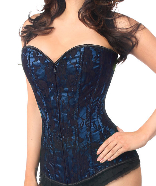 Blue Death Blue and Black Lace Corset