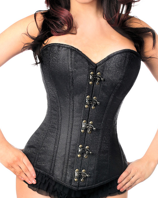 Black Brocade Steel boned Corset
