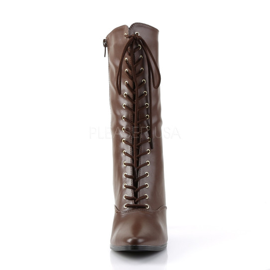 brown victorian boots front