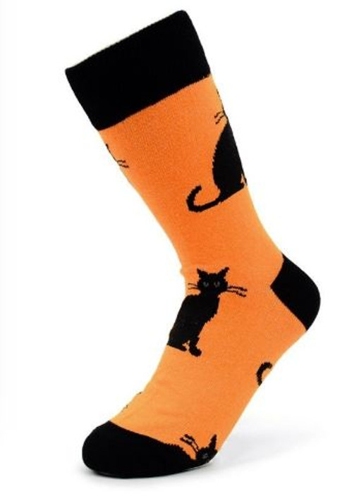 black cat halloween theme socks