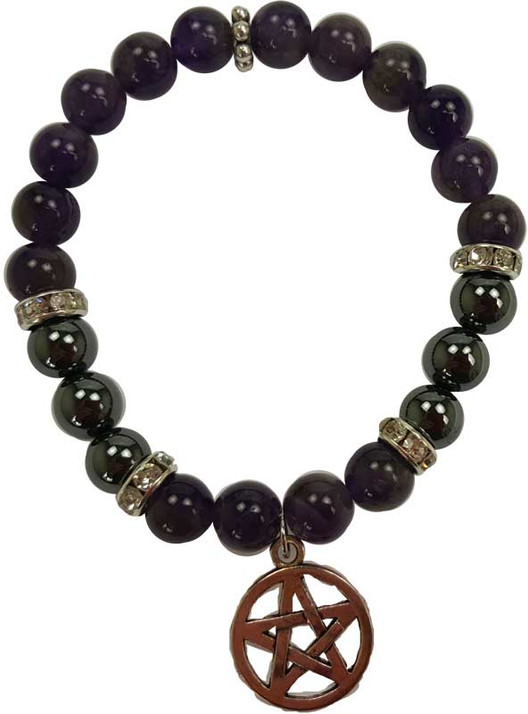 Amethyst  and Hematite Pentagram Bracelet