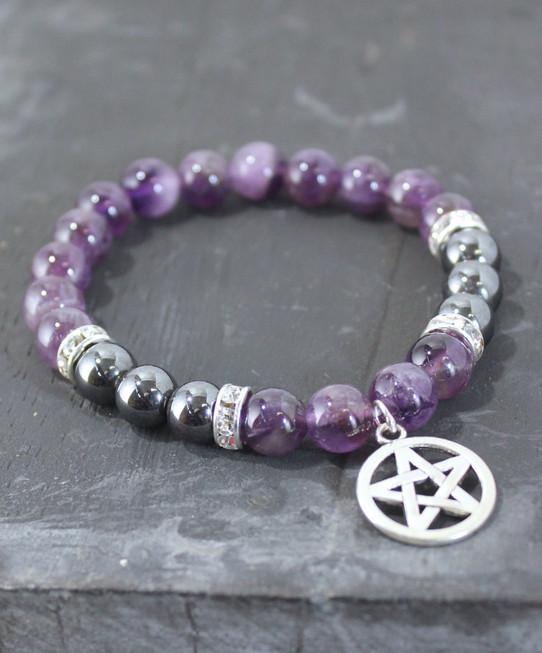 Amethyst  and Hematite Pentagram Bracelet