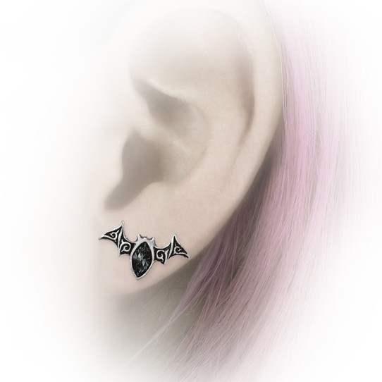 Black Bat Crystal Earrings