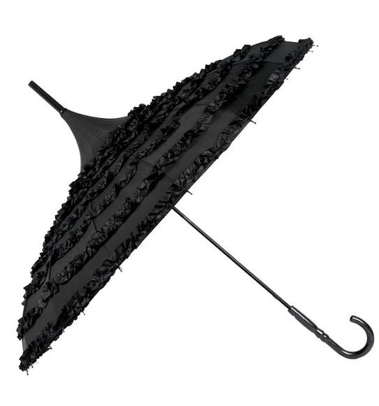 black ruffle lolita umbrella