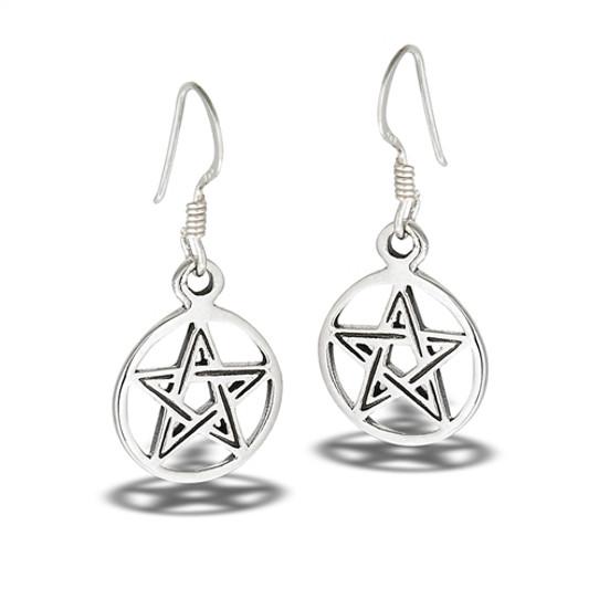 sterling silver pentagram earrings