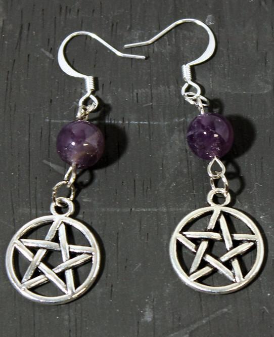 Amethyst Pentagram Earrings
